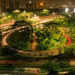 The Historic Bridge in Indonesia, Semanggi by Saiful N. Firmansyah - City,  Street & Park  Night ( indonesia, semanggi, bridge, slow speed,  )