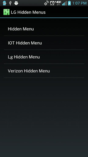 Hidden Menus for LG Phones