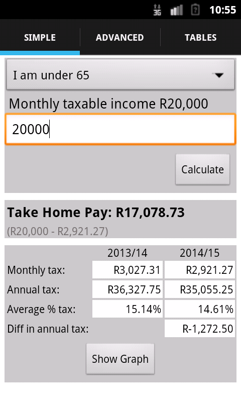 SA Tax Calculator - screenshot