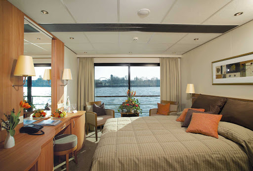 Viking-Helvetia-Deluxe-Stateroom - You'll enjoy expansive views of Europe's Rhine River from the comfort of your Deluxe Stateroom as you travel aboard Viking Helvetia.