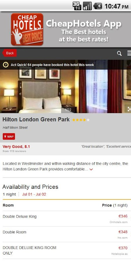 Cheap Hotels, apartment offers- screenshot