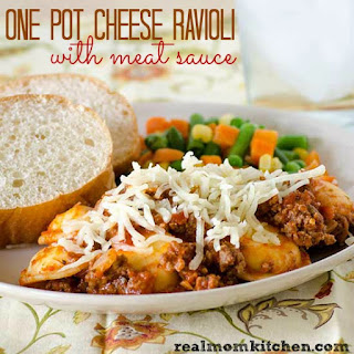 One Pot Cheese Ravioli with Meat Sauce.