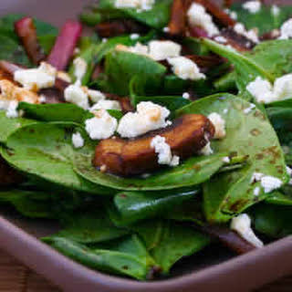 Balsamic Spinach Salad with Mushrooms, Onions, and Feta.