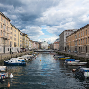 Canal Grande by Franco Beccari - City,  Street & Park  Historic Districts ( clouds, trieste, boats, canal, canal grande )