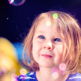 Bubbles by Shane McKenzie - Babies & Children Children Candids ( bubbles, blue eyes, kid portrait, kids, closeup )