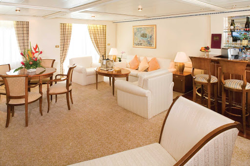 Silversea_Grand_Suite-1 - The extravagent Grand Suite aboard Silver Whisper offers a large living room with sitting area and plenty of room to spread out.