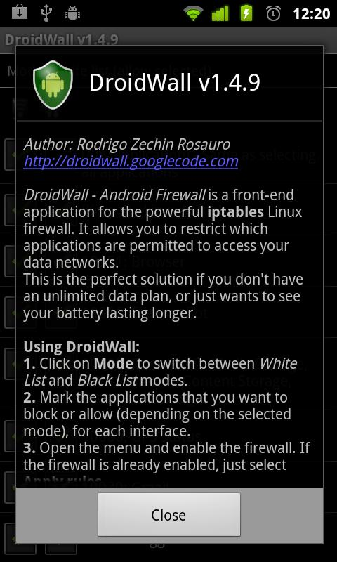 DroidWall - Android Firewall- screenshot