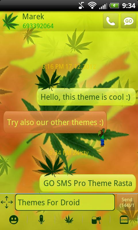 GO SMS Pro Theme Rasta- screenshot