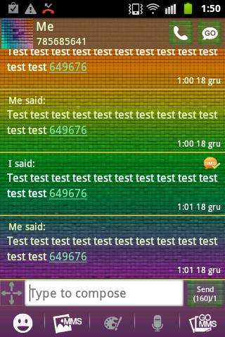 GO SMS Theme Color Pixel- screenshot