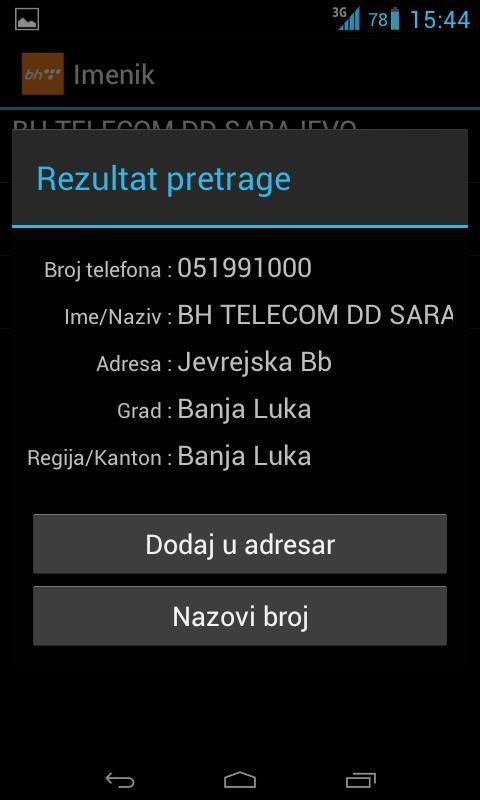 BH Telecom Imenik - screenshot