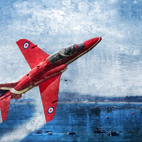 Jet stream by JCstudios by John Cuthbert - Mixed Media All Mixed Media ( red arrows, studios, aeroplane, art, jcstudios, trainer, army, wall art, red, plane, pilot, aircraft, air-force, navy, fighter, painting, jet, wall  art )