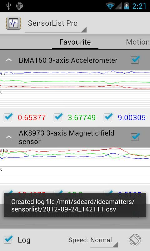 SensorList Pro - screenshot