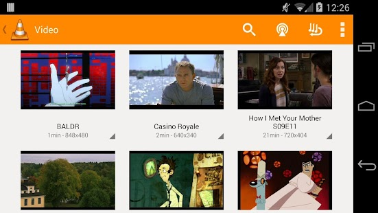 VLC for Android beta: miniatura da captura de tela