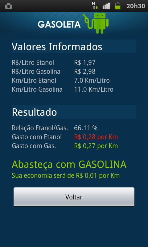 Gasoleta - Gasolina ou Etanol? - screenshot