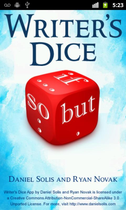 Writer's Dice - screenshot