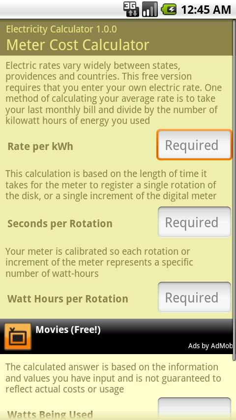 Electricity Calculator- screenshot