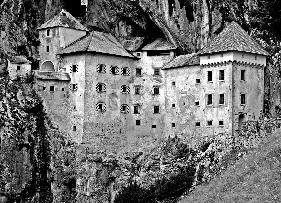 Predjama Castle by Matevz Skerget - Black & White Buildings & Architecture ( grad, black and white, predjamski, rock, castle, b&2 )