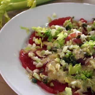 Tuna Carpaccio with Celery and Wasabi-Mayo Dressing
