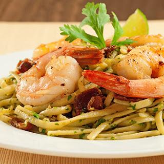 Linguine with Bacon, Shrimp and Avocado-Cilantro Pesto