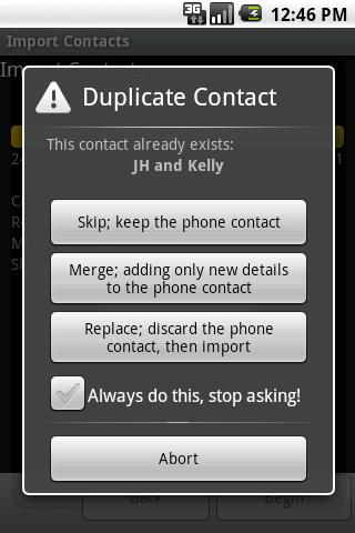 Import Contacts (old)- screenshot