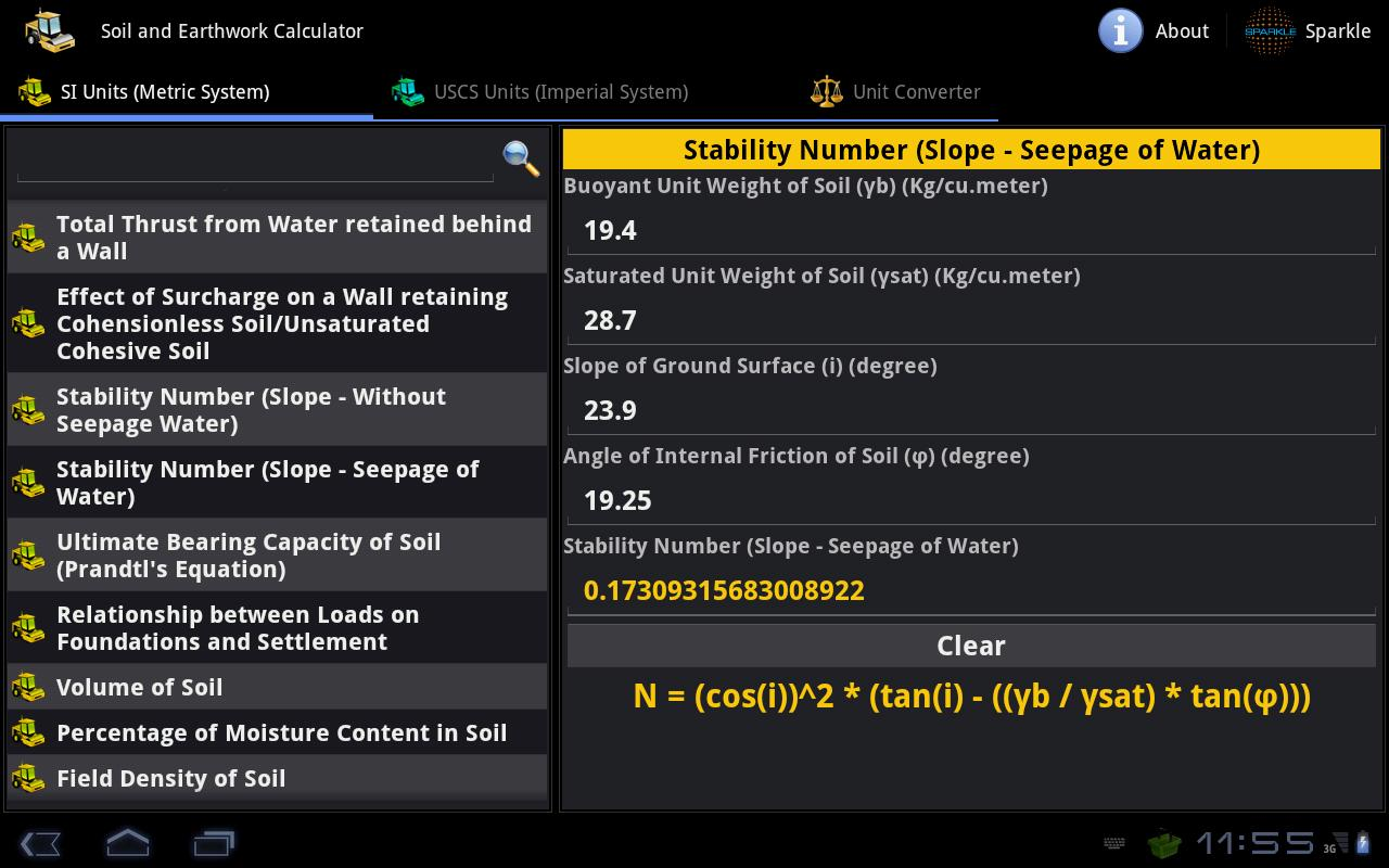 Soil & Earthwork Calc. Tablet- screenshot