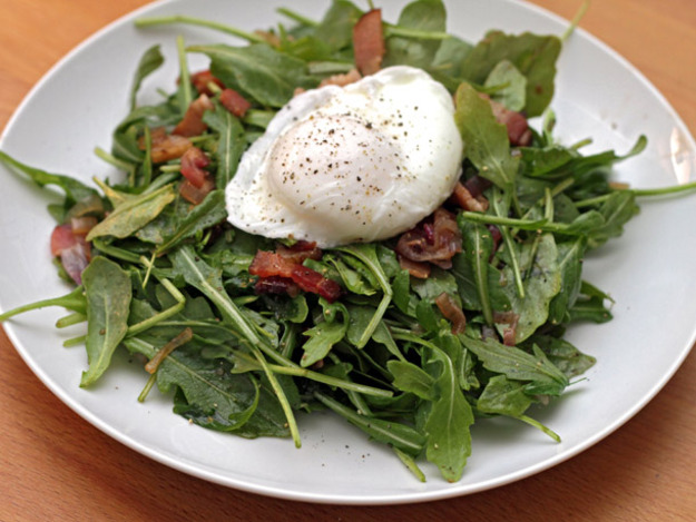 ... Warm Arugula Salad with Bacon and Poached Eggs Recipe | Yummly