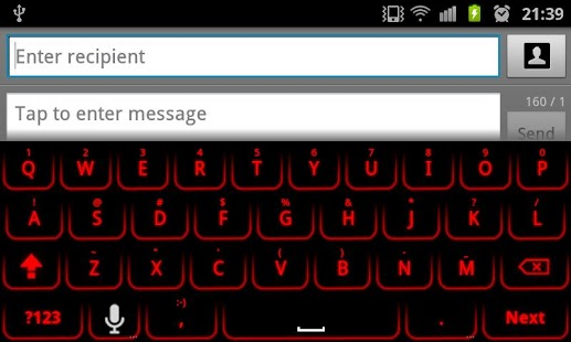 Red Glow Keyboard Skin Pro - screenshot thumbnail