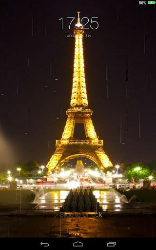 雨夜城市鎖定螢幕