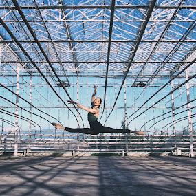 The Ballerina by Nguyen Kien - Sports & Fitness Other Sports ( blue sky, jumping, greenhouse, ballerina, ballet )