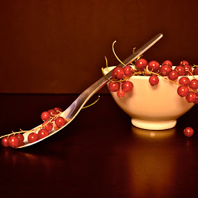 and then ..... by Anisja Rossi-Ungaro - Artistic Objects Still Life ( cup, fruit, red, dark, spoon, light )