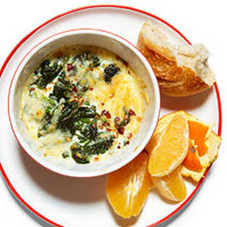 Cheesy Baked Spinach and Egg Whites with Bread and Fruit.