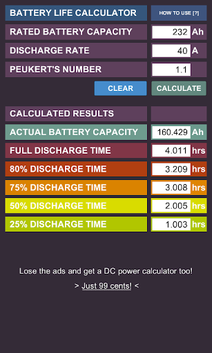 DC Battery Life Calc Free