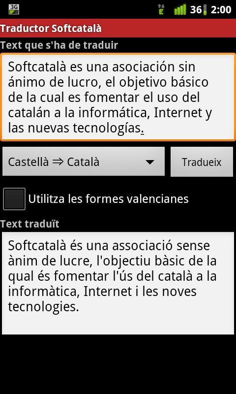 Traductor de Softcatalà - screenshot