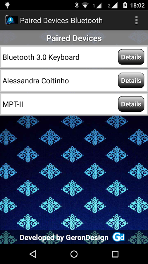 Paired Bluetooth Devices- screenshot