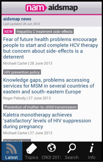 aidsmap news - screenshot