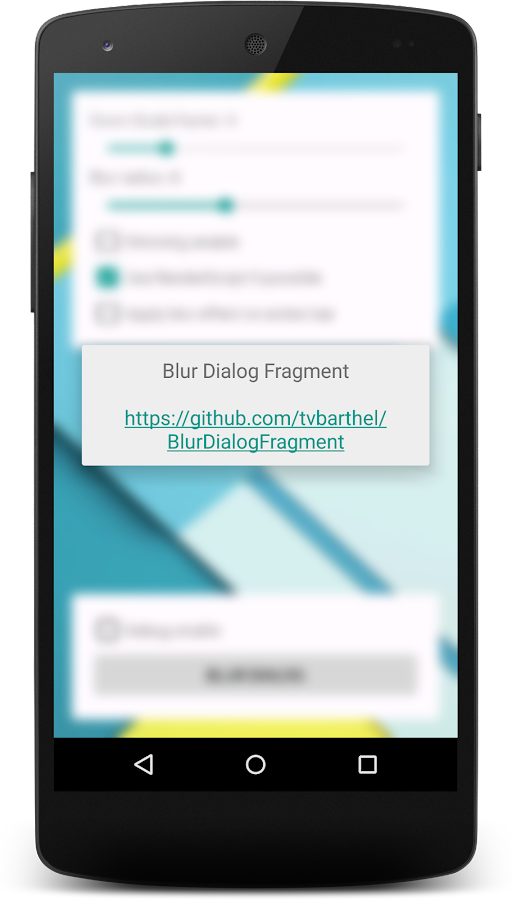 BlurDialogFragment Sample App- screenshot