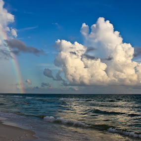 Rainbow On The Emerald Coast by Brenda Hooper - Uncategorized All Uncategorized ( water, fluffy coulds, atlantis ocean, florida, emerald coast, beach, rainbow, panama city beach, , Beach, sunset, blue, ocean.  )