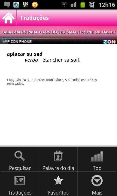 Dicionário Priberam- screenshot