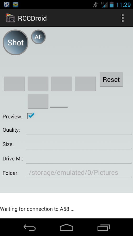 RCCDroid Remote shutter Sony- screenshot