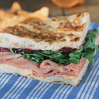 Ham and Arugula Sandwiches with Cranberry Chutney.