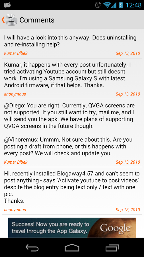 Blogaway for Android (Blogger) - screenshot