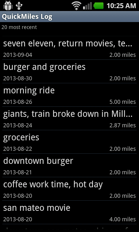 Go Bike Trip - Bicycle Log- screenshot