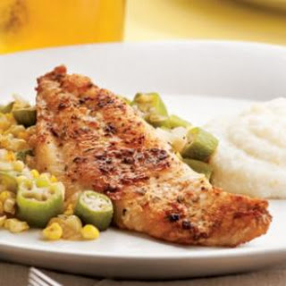 Louisiana Catfish With Okra & Corn.