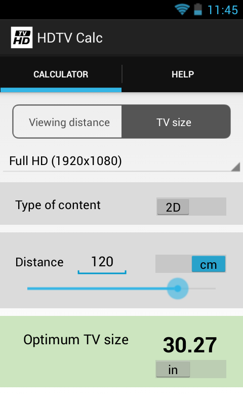 HDTV Calculator- screenshot