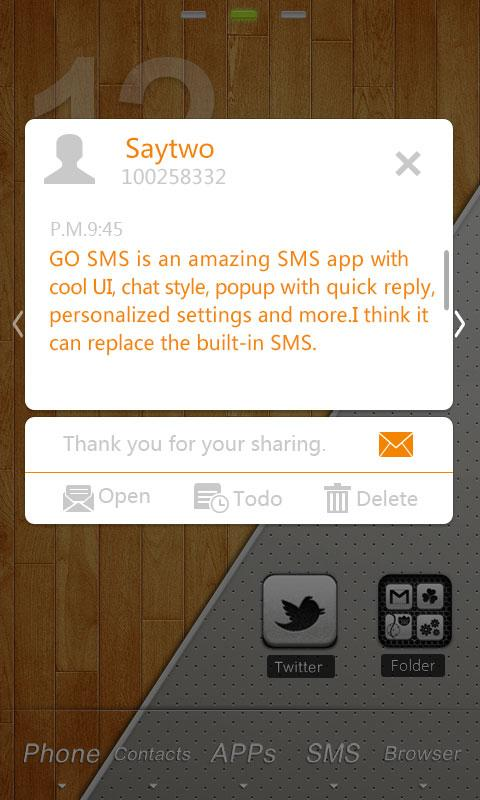 GO SMS Pro List ThemeEX - screenshot