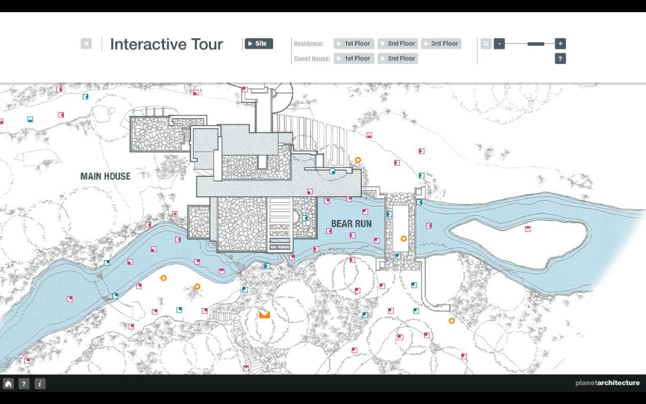 Fallingwater floor plan f l wright fallingwater hd for Site plan app