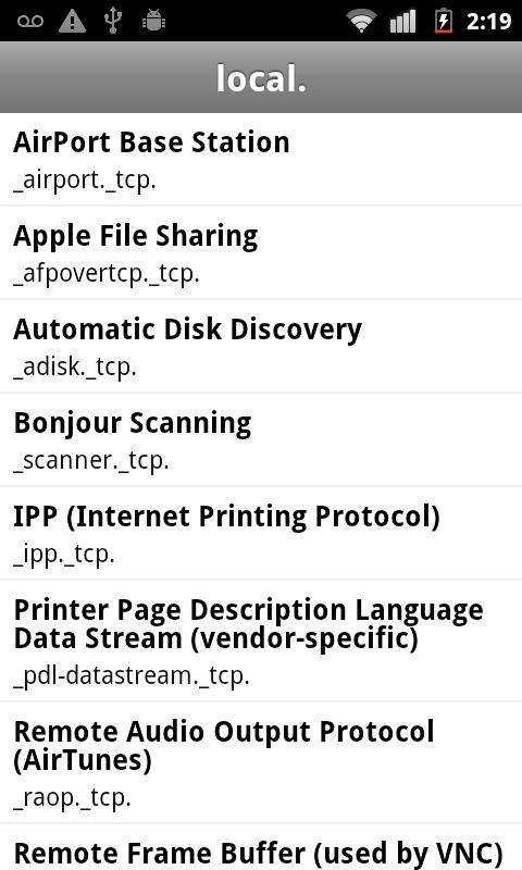 Bonjour Browser- screenshot