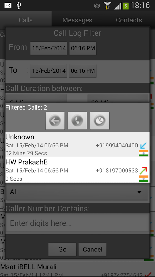 Call Log Search Filter GlogMe - screenshot