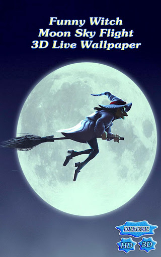 Funny Witch Moon Sky Flight 3D