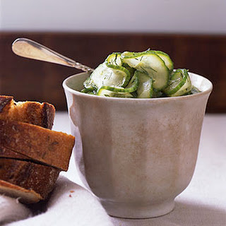 Quick Cucumber Pickles with Rye Bread and Cheese.